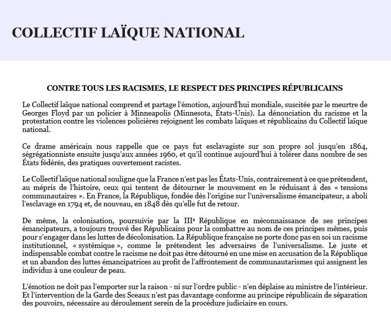 EGALE signe le communiqué du CLN : Contre tous les racismes , le respect des  principes Républicains.