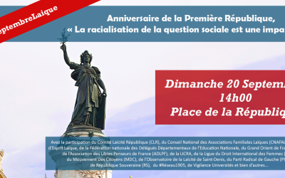 Manifestation dimanche 20 septembre 2020 à 14h place de la République